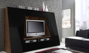 decoration: Awesome Unusual Tv Stands With LED TV Above Two DVD Player  Front Maroon Fur