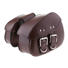 2 bags side pouch brown leather saddlebags saddle panniers for motorcycle