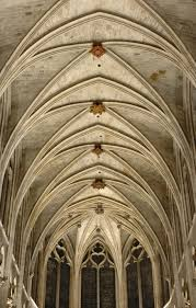Gothic rib-vault ceiling of the Saint-Sverin church in Paris