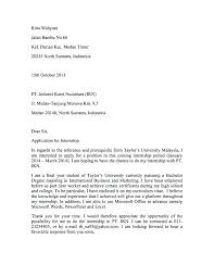 Cover Letter For Intership 9 10 Example Of An Internship Cover Letter Samples