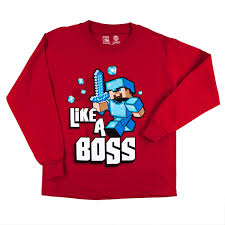 Minecraft - Like a Boss Youth Long Sleeve T-Shirt - Walmart.com