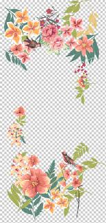 flower euclidean fl design hand painted flower borders pink and white roses ilration png