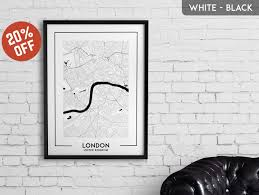 map of decor art london wall art london wall art london red bus print city