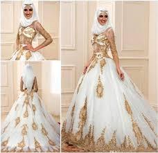 discount muslim wedding dresses 2017 gold lace applique long