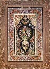 qum flower vase silk persian rug item 1412