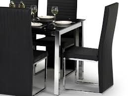 julian bowen tempo 150cm black glass dining table and 4 black faux leather chairs set