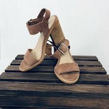 details about steve madden 4 inch wood block heel rose suede ankle strap open toe size 6 5