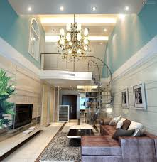 home interior with high ceiling design and grand chandelier also spiral glass staircase