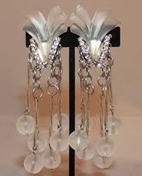 vintage art deco clear stone rhinestone clip earrings circa 1920s these earrings
