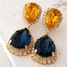navy blue and sunflower yellow chandelier earrings dangle ea