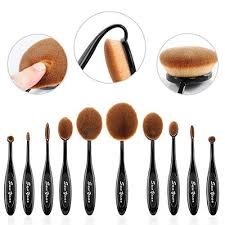 sunyear super soft professional 10pcs oval makeup foundation brushes contour cream powder blush eyebrow toothbrush cosmetics tool set check out