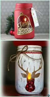 Mason Jars Decorated For Christmas DIY Stenciled Mason Jar Candle Holder Christmas Lights Instruction 14