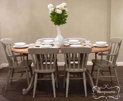 Oval Kitchen Table And Chairs Oval Dining Table And Six Chairs Pedestal Detail Anniesloanhome