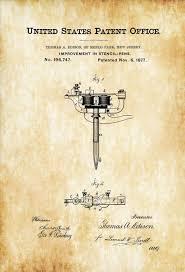 Stencil Pen Patent Print Tattoo Gun Patent Thomas Edison Patent Tattoo Parlor Art Tattoo Print
