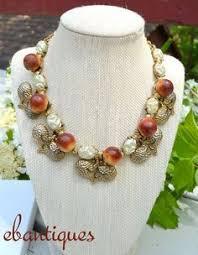 vine signed elsa schiaparelli rhinestone apple fruit necklace earrings set schiaparelli apple fruit