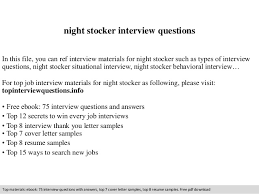 night stocker interview questions In this file, you can ref interview  materials for night stocker ...