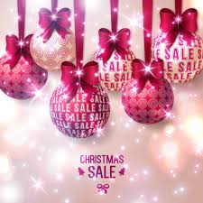 Pink christmas ball with christmas sale background vector - Vector ...