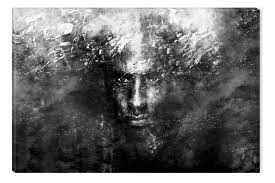 black and white abstract canvas wall art man face glowing in the dark 80 x 120 cm