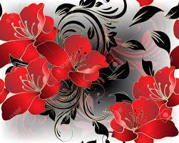 Modern Floral 3d Red Flowers Vector ...