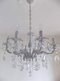 light grey solid brass italian vintage repurposed glass crystal chandelier