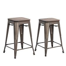 24 inch wooden bar stools. Simple Inch Buschman Set Of Two Bronze Wooden Seat 24 Inches Counter HeightTolixStyle  Metal Bar Stools In Inch 4