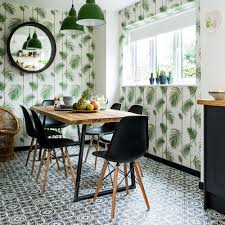 kitchen makeover dark grey units palm print wallpaper