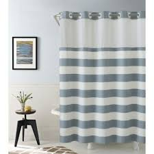 gray and blue shower curtain. hookless cabana stripe 74-inch x 71-inch shower curtain in blue gray and