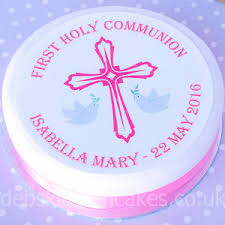 Holy Communion Cake Topper Girls Pink Personalised First Holy