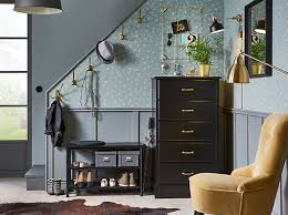 ikea hallway furniture. brass coloured kmpig hooks a black pinnig bench and undredal chest of drawers provide ikea hallway furniture