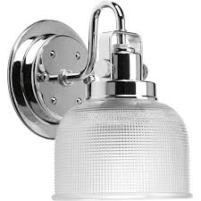 Progress Lighting Archie Collection 1-Light Antique Nickel Bath Sconce with  Clear Prismatic Glass Shade-P2989-81DI - The Home Depot