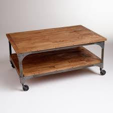 Attractive ... Coffee Table, Interesting Brown Rectangle Farmhouse Wood And Metal Coffee  Table Wheels With Shelf Design ...