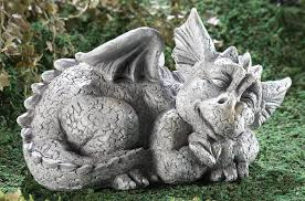 dragon garden statues. Mythical Sleeping Baby Dragon Garden Sculpture Left Statues T