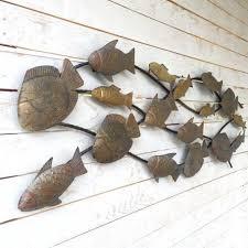 metal school of fish wall art metal wall decor by