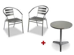 Table ronde + 2 chaises de jardin en aluminium MONTMARTRE