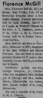 Obituary for Florence McGill - Newspapers.com