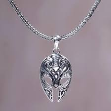 sterling silver men s ram pendant necklace from indonesia silii mask