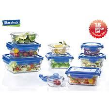food container set glasslock 18 pc logo blue lids copy