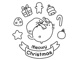Pusheen Christmas Coloring Pages Free Printable Pusheen Coloring
