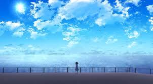 anime girl near ocean wallpaper hd