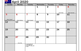 April 2020 Template Free Printable April Holidays 2020 Calendar Template