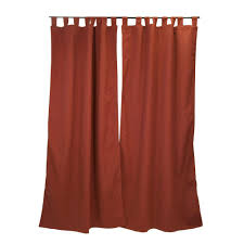 sunbrella 50 in x 96 in canvas henna outdoor tab top curtain panel 7696 01510100 the home depot