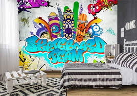 Graffiti Behang Skateboard Team Muurdeco4kids