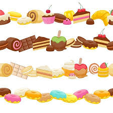 chocolate candy borders. Perfect Borders Set Of Sweet Food Seamless Horizontal Borders Candy Chocolate Sweets  Lollipop Cake Donut Macaroon Cookie In Chocolate Borders