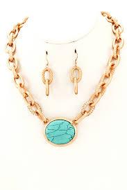 semi precious stone pendant metal chain necklace set