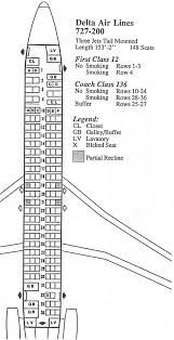 Delta Flight 200 Seating Chart Vintage Airline Seat Map Delta Air Lines Boeing 727 200