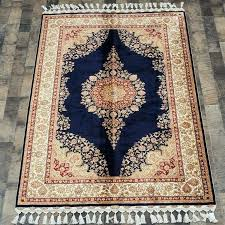 details about handmade silk area rug blue medallion handcraft carpet living colors austin gray accent
