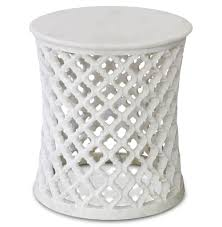 mamounia global bazaar white marble fretwork round side table kathy kuo home