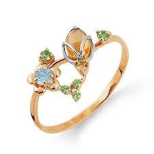 Золотое <b>кольцо с топазом</b>, <b>хризолитами</b>, цитринами ...