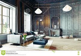Zwarte Woonkamer Stock Illustratie Illustratie Bestaande Uit Lamp