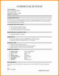 Fresher Resume Format For Mca Mca Fresher Resume Format Fresh